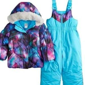 Girls Xposur blue and galaxy snow bib
